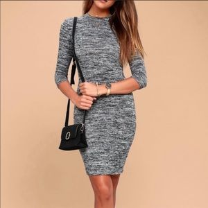 Lulu's Dresses - Lulu's Gray Sweater Dress